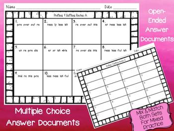Affixes Mix & Match Bundle Prefix & Suffix Task Cards :Color & Ink-Friendly