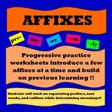 Affixes (Prefixes, Suffixes, Root Words)- Progressive Practice Worksheets