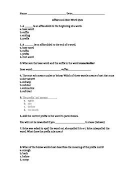 Affixes Quiz