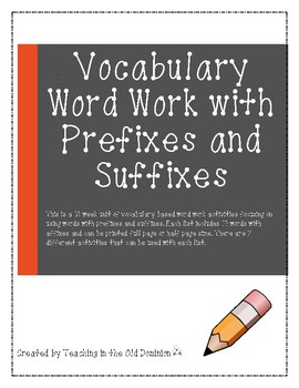 Word Work with Affixes Vocabulary Unit