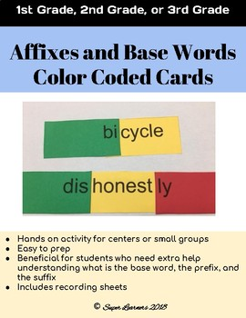Affixes and Base Words Color Coded Cards