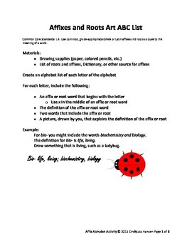 Affixes and Root Words ABC List Activity