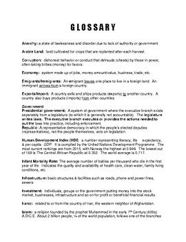 AFGHANISTAN Fact Sheet 2 Page History, Issues, Economic Statistics