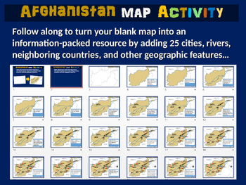 Afghanistan Map Activity- fun, engaging, follow-along 24-slide PPT