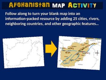 Afghanistan Map Activity- fun, engaging, follow-along 24-s