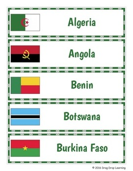 Africa Geography - African Countries Word Wall