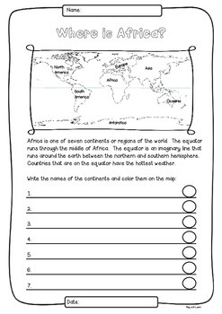 Africa 55 Countries Study - worksheets with maps and flags for each country