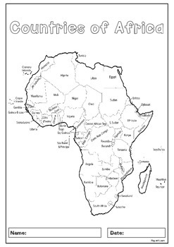 Africa 55 Countries Study   worksheets with maps and flags for