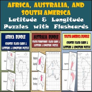 Africa, Australia, & S. America Flash Cards Sets & Latitude & Longitude Puzzles