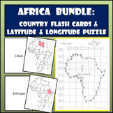 Africa Bundle: Country Flash Cards & Latitude and Longitude Coordinates Puzzle