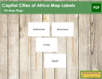African Capital Cities - Pin Map Flags