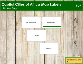 Africa Capital Cities - Pin Map Flags (color-coded)