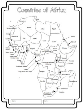 Map Of Africa Worksheets.Africa Continent Study All African Countries Worksheets Maps