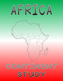 Africa Continent Study - All 56 African Countries - Worksheets, maps and flags.