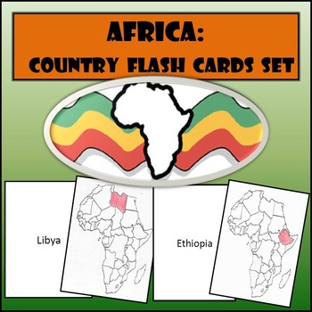 Africa: Country Flash Cards Set - Shaded or Non-Shaded with Name on Back