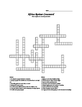 Africa Crossword Puzzle