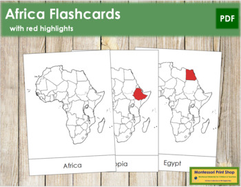 Africa Flash Cards (Red)