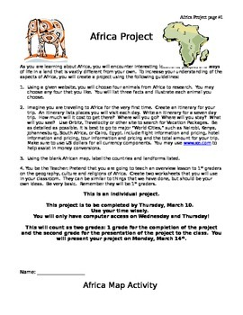 Africa Geography, Animals, and Safari Project