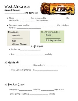Africa Geography/ History Unit Guided notes/Worksheets