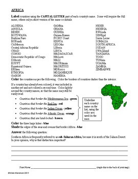 AFRICA Geography & History Worksheets and Puzzles