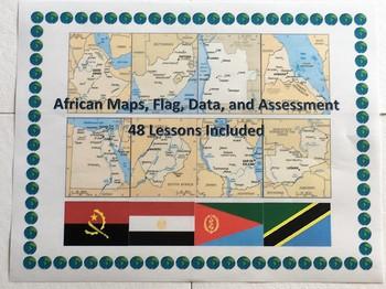 Africa Geography Maps, Flag, Data, Bundle Assessment  - Map Skills Data Analysis