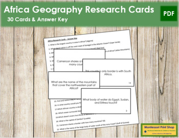 Africa Geography Research Cards