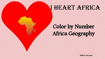 Africa Geography - Valentine's Color by Number Activity