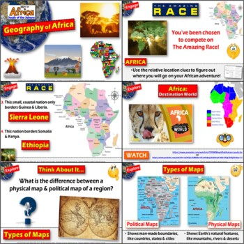 Africa Intro to Geography 5 E Lesson with Mapping Activities & Game
