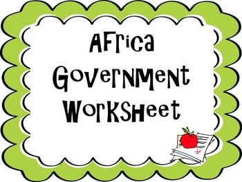 Africa Government Worksheet