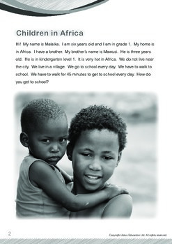Africa (I): Children in Africa (with 'Triple-Track Writing Lines')