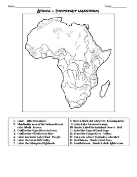 Africa Landforms Map