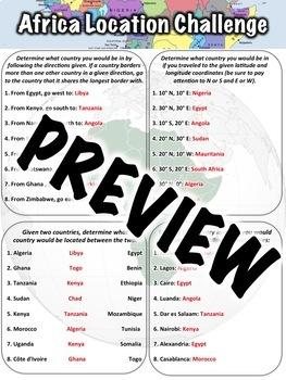 Africa Location Worksheet