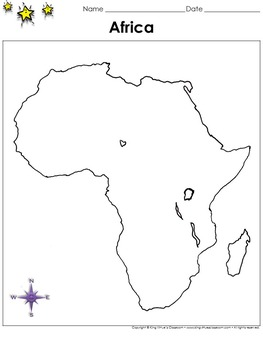 Africa Map - Blank - Full Page - Continent - Portrait - King Virtue