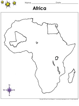 Africa Map - Egypt and Mali - Blank - Full Page - Continent - Portrait