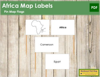 Africa Map Labels - Pin Map Flags
