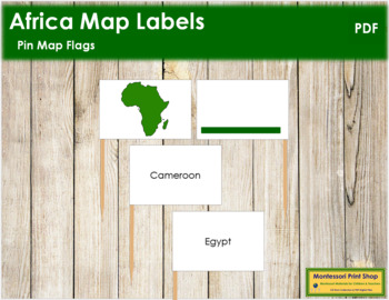 Africa Map Labels - Pin Map Flags (color-coded)