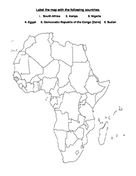 Africa Map Quiz (7th Grade SS - State of GA) by Miss Social | TpT