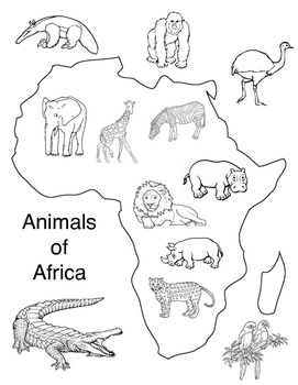 Africa Map with Animals
