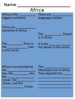 Africa Passage + Guided Notetaking + Map (SOL 3.6)