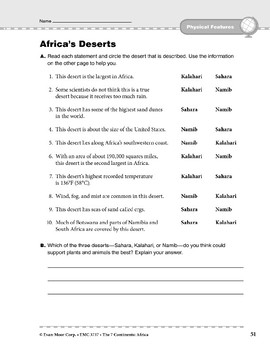 Africa: Physical Features: Deserts
