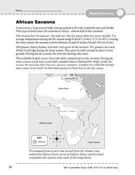Africa: Physical Features: Savanna