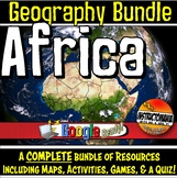 Africa Physical Geography Bundle, Map Activities & Quizzes