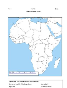 Map Of Africa For Students.Africa Political Map By Wilson Hein Creations Teachers Pay