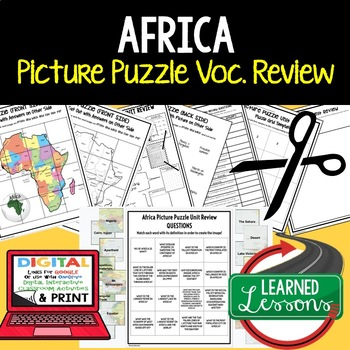 Africa Picture Puzzle, Test Prep, Unit Review, Study Guide