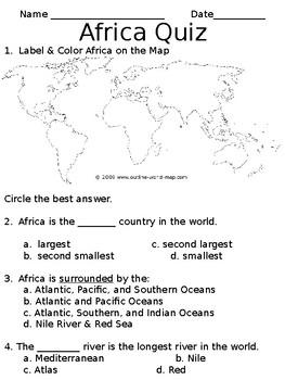 Africa Quiz (SOL 3.6)