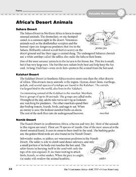 Africa: Resources: Desert Animals