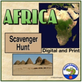 Africa Scavenger Hunt w/ Internet Task Cards Printable Version Distance Learning