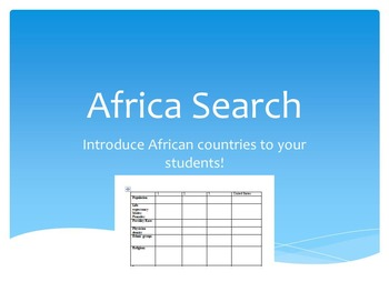 Africa Country Search - High School History/Language Arts/English