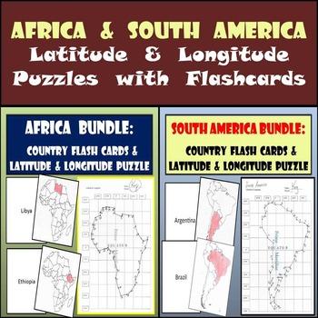 Africa & South America Bundle: Latitude & Longitude Puzzles with Flashcards