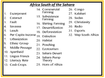 Africa South of Sahara Word Wall Pennants (World Geography)